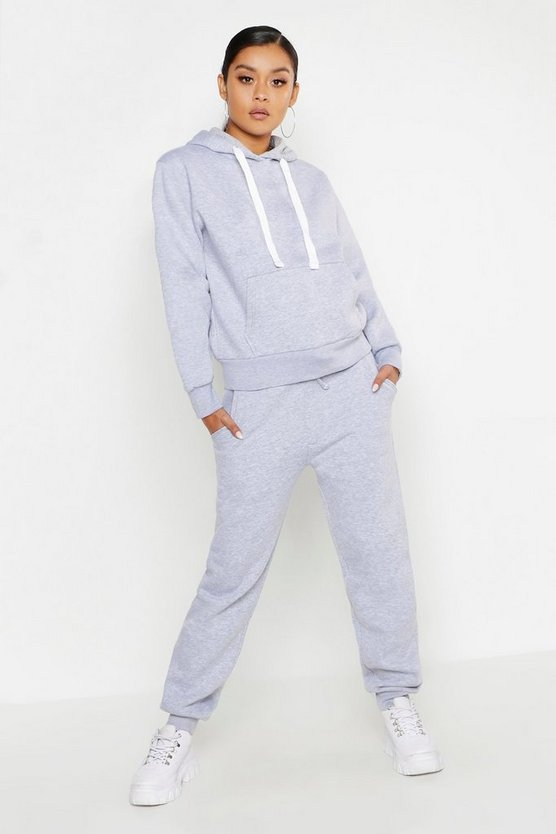 Womens Grey marl Hooded Tracksuit