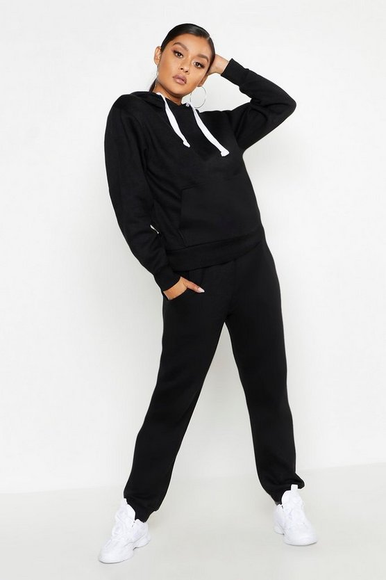 Womens Black Hooded Tracksuit