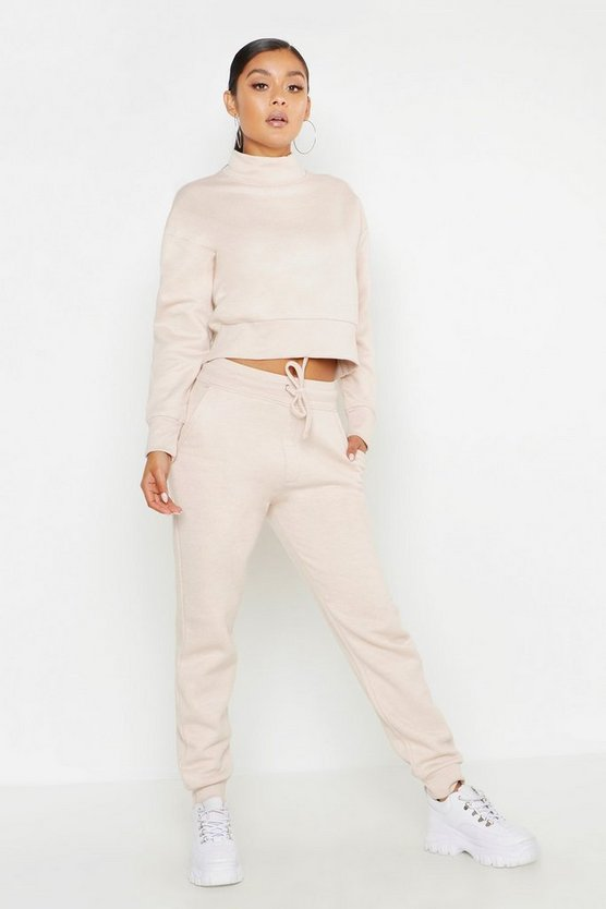 Womens Beige Cropped Funnel Neck Sweater Tracksuit