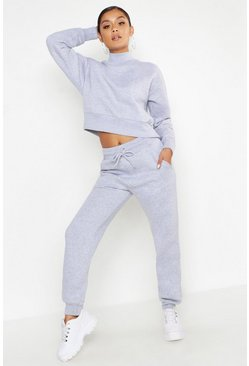 Womens Grey marl Cropped Funnel Neck Sweat Tracksuit