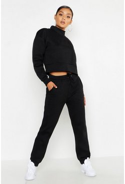Womens Black Cropped Funnel Neck Sweat Tracksuit