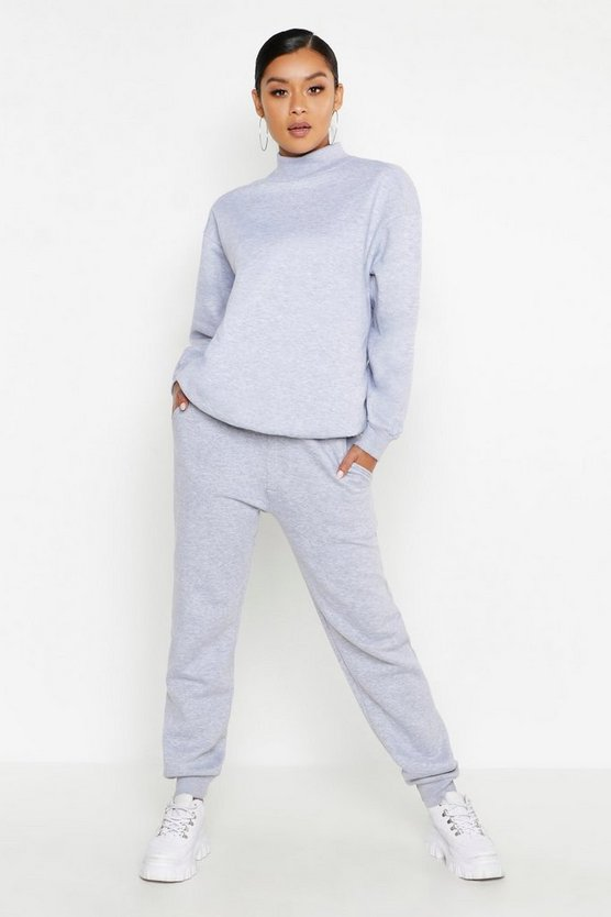 Womens Grey Funnel Neck Oversized Tracksuit