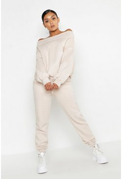 Womens Ecru Off The Shoulder Tracksuit