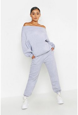 Womens Grey marl Off The Shoulder Tracksuit