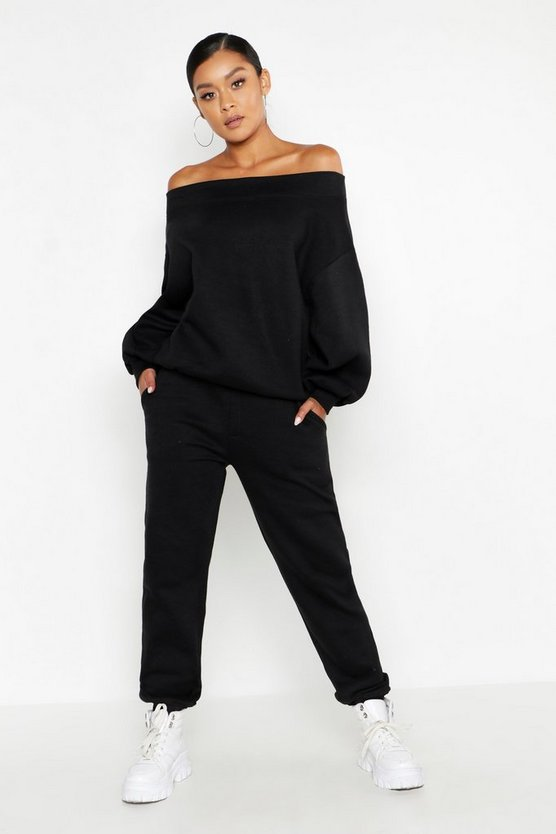 Womens Black Off The Shoulder Tracksuit