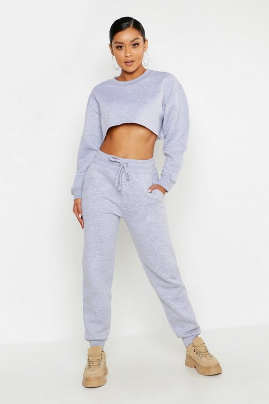 Grey Cropped Sweat & Jogger Tracksuit