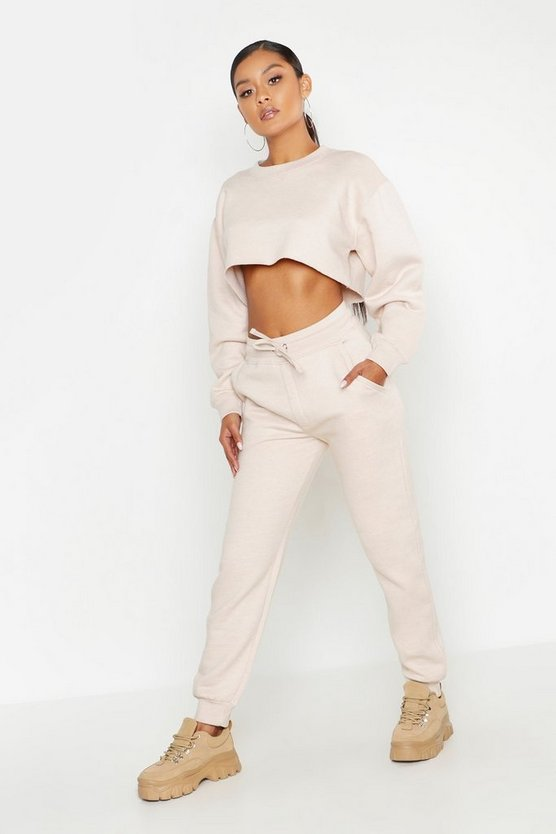 Womens Stone Cropped Sweat & Jogger Tracksuit