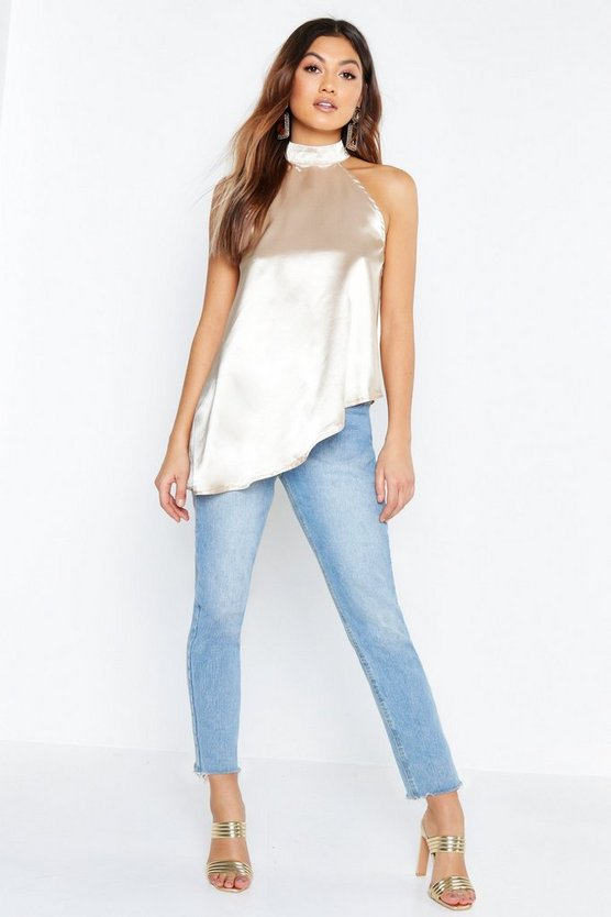 Womens Ecru Satin High Neck Asymmetric Top