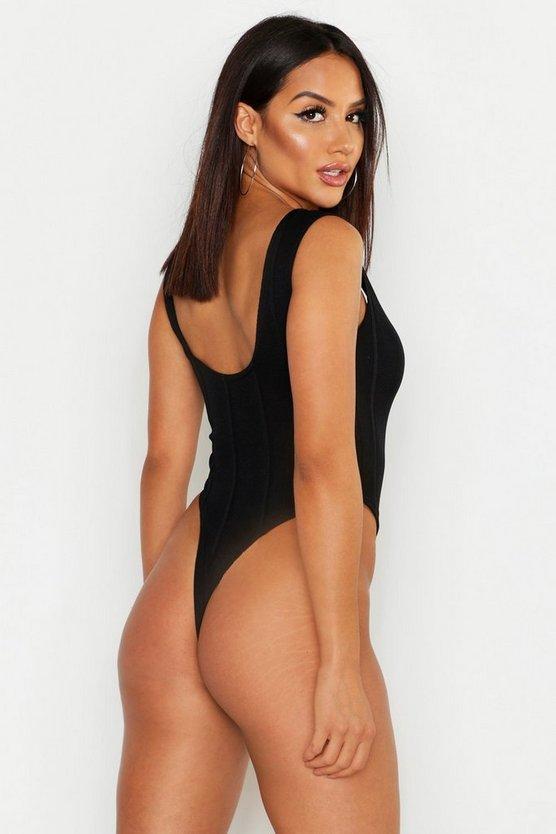 Bandage Rib Scoop Sleeveless Bodysuit