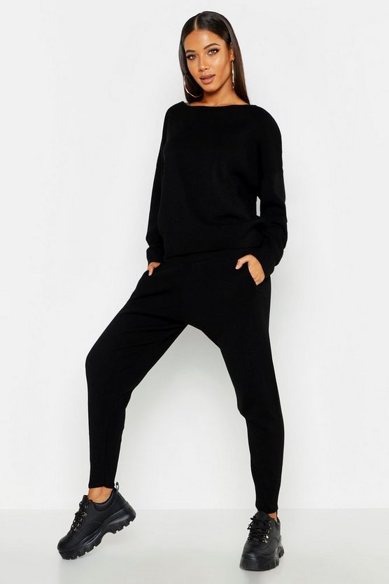 Womens Black Slash Neck Knitted Set