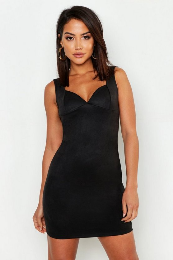Suede Bustier Detail Bodycon Dress