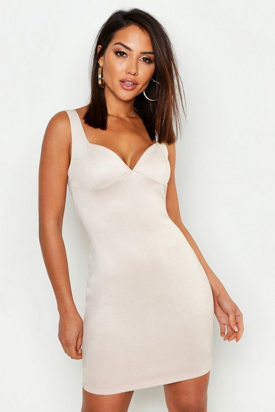 Womens Nude Suede Bustier Detail Bodycon Dress