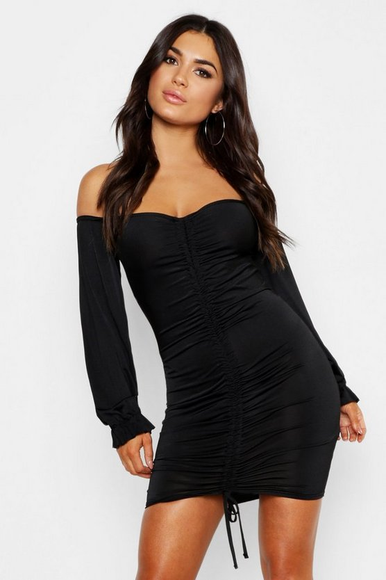 Slinky Bardot Blouson Sleeve Bodycon Dress