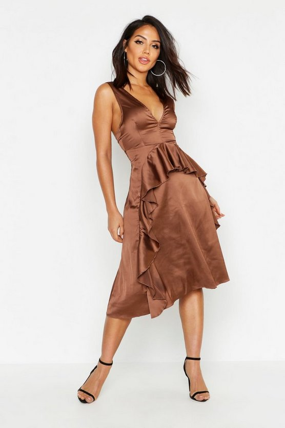 Womens Chocolate Satin Frill Detail Midi Skater Dress