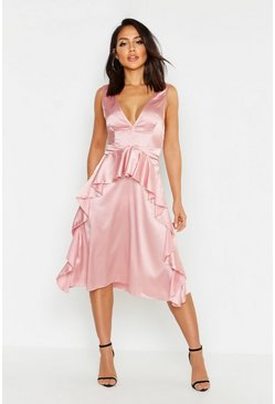 Womens Dusky pink Satin Frill Detail Midi Skater Dress