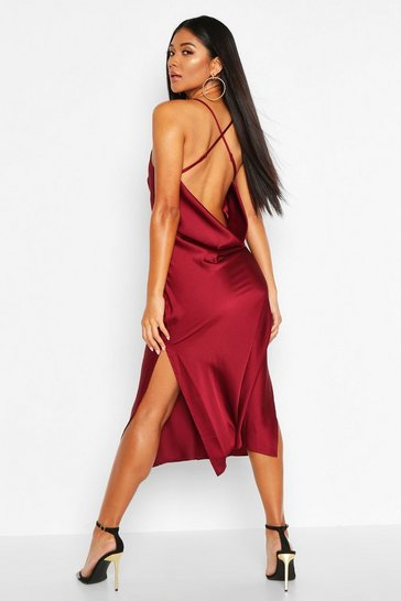 Berry Satin Cowl Back Midi Slip Dress