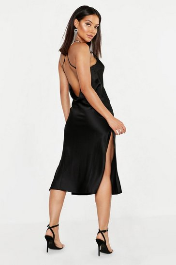 Womens Black Satin Cowl Back Midi Slip Dress