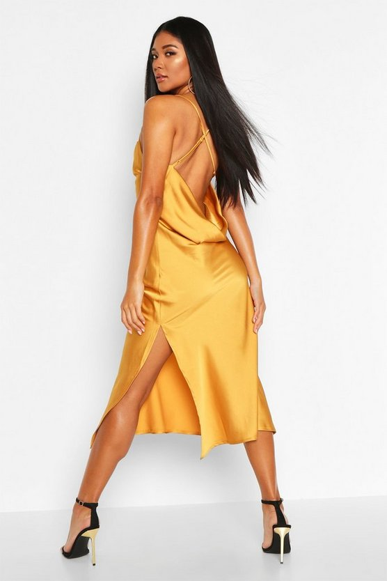 Mustard Satin Cowl Back Midi Slip Dress