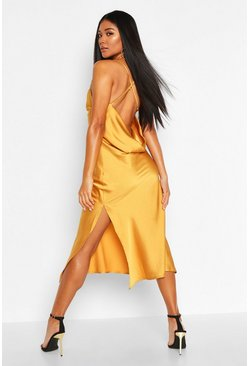 Womens Mustard Satin Cowl Back Midi Slip Dress