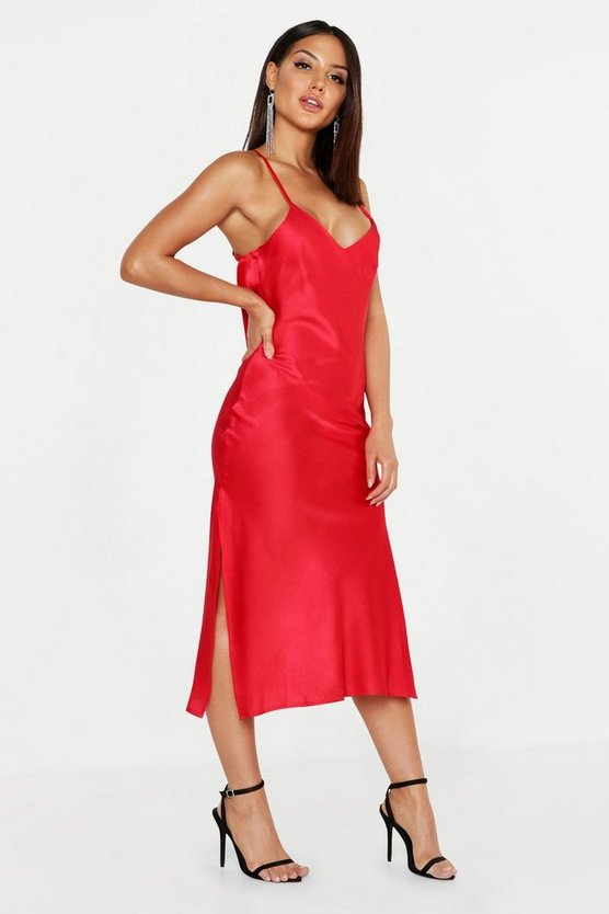 Womens Red Satin Cowl Back Midi Slip Dress
