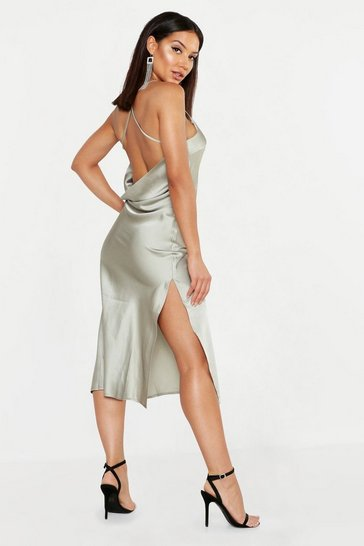 Womens Sage Satin Cowl Back Midi Slip Dress