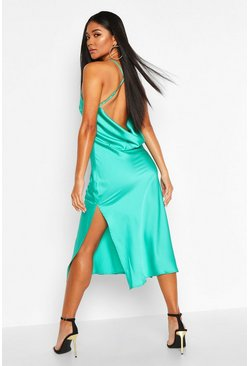 Teal Satin Cowl Back Midi Slip Dress