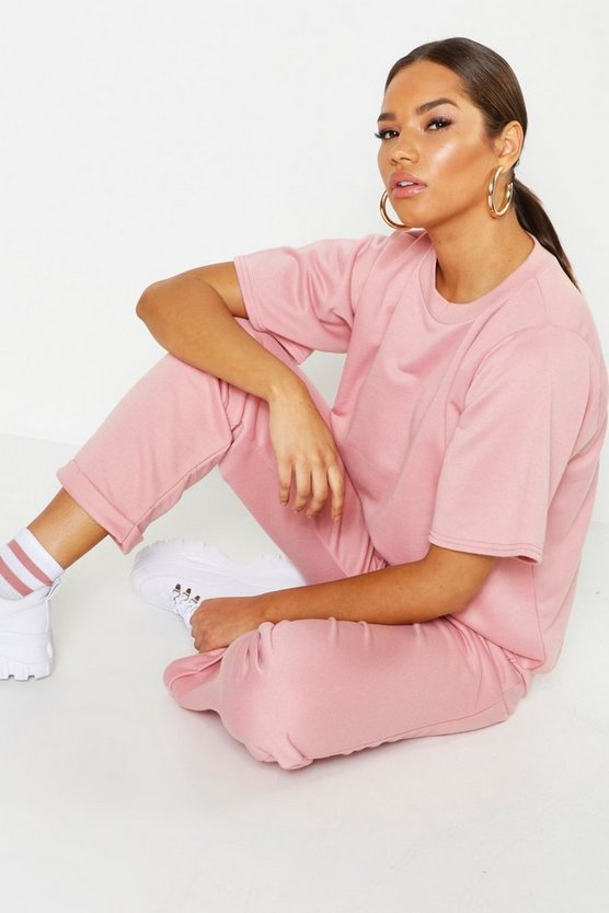 Set mit T-Shirt & Jogginghose, Rosé, Damen
