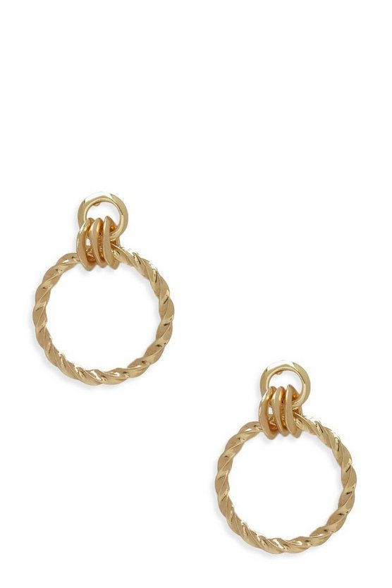 Twist Hoop Door Knocker Earrings