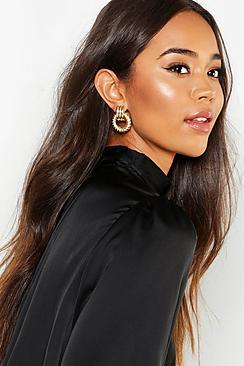 Chunky Circle Twist Knocker Earrings