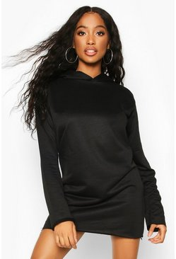Womens Black Oversized Hooded Sweat Dress