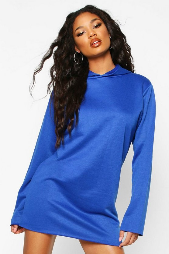 Cobalt Oversized Hooded Sweat Dress