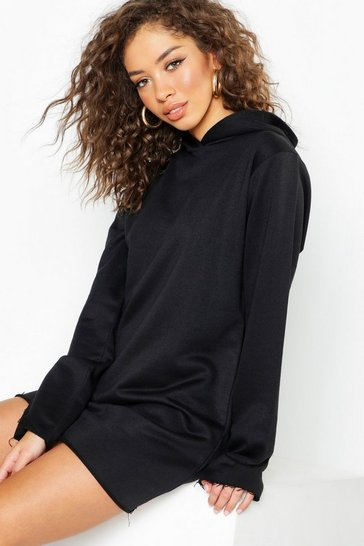 Womens Black Hooded Sweat Dress
