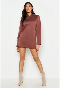 Womens Taupe Hooded Sweat Dress