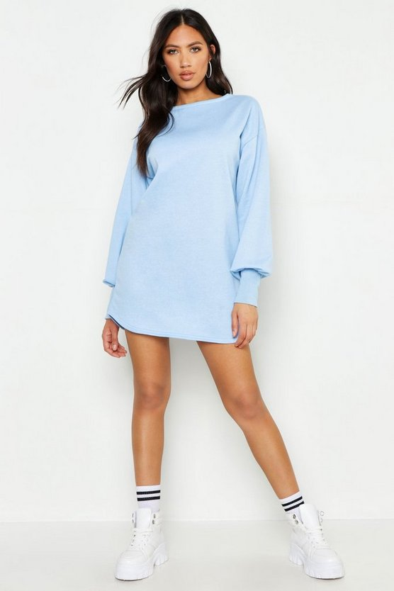 Sky Balloon Sleeve Sweat Dress