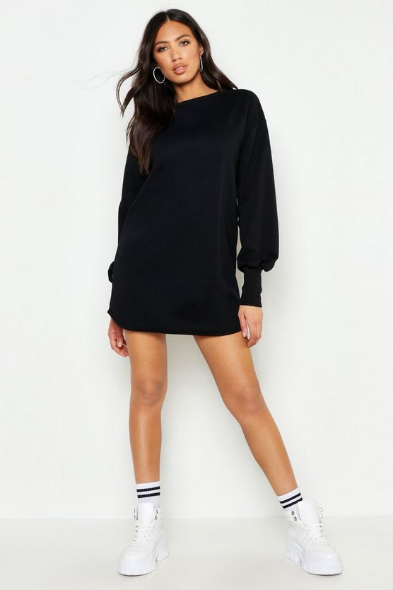 Womens Black Balloon Sleeve Sweat Dress