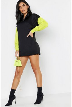 Womens Black Neon Colour Block Zip Detail Sweat Dress