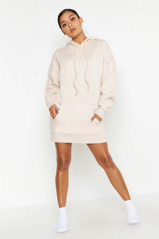 Womens Stone Oversized Hooded Pocket Sweat Dress