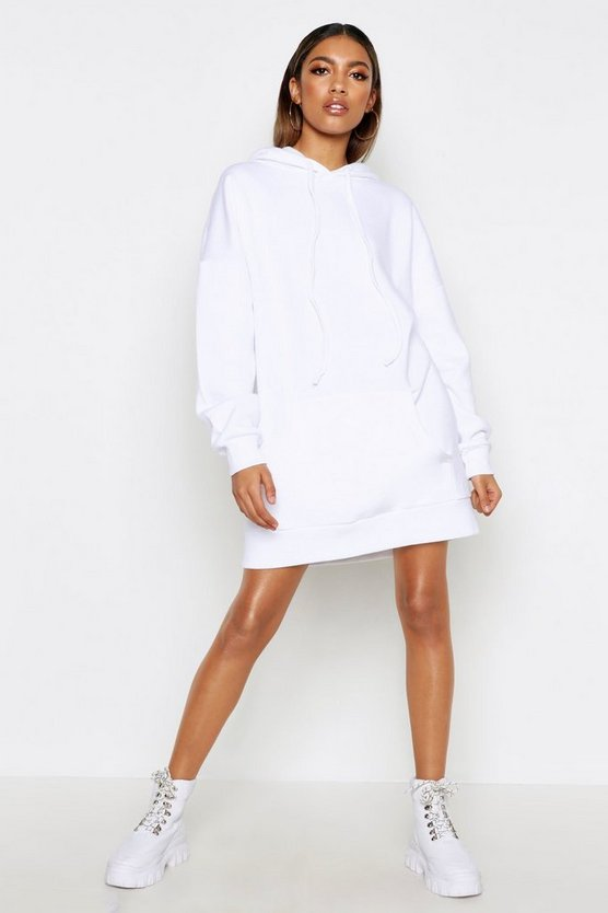 Womens White Oversized Hooded Pocket Sweat Dress