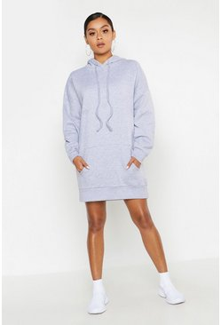 Womens Grey Oversized Hooded Pocket Sweat Dress