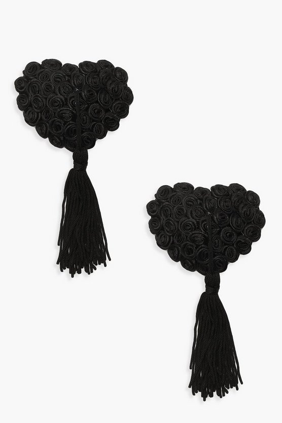 Womens Black Rose And Tassel Nipple Covers