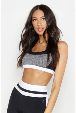 Womens Grey Fit Mesh Detail Sports Bra
