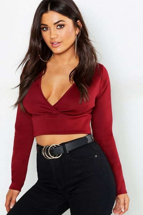 Scuba Plunge Cross Long Sleeve Crop