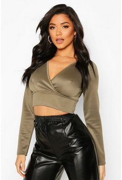 Khaki Scuba Plunge Cross Long Sleeve Crop
