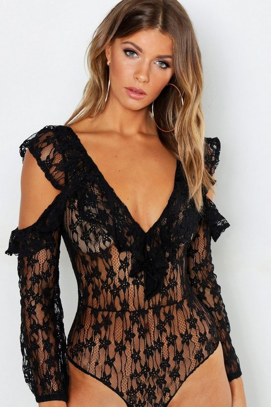 Lace Cold Shoulder Bodysuit