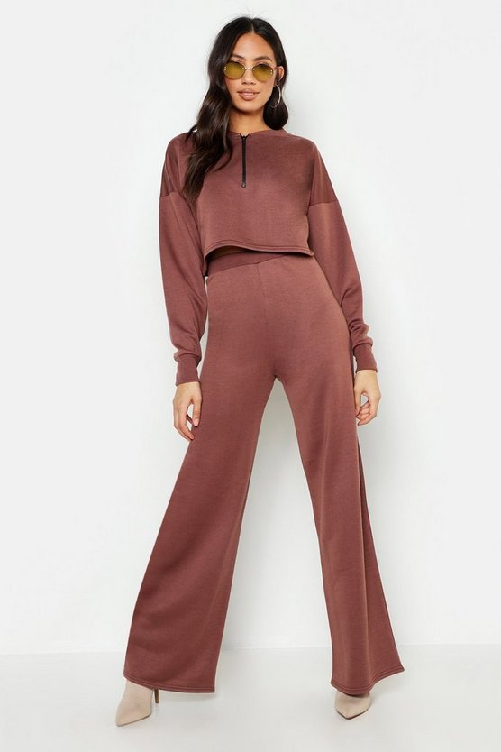 Womens Taupe Wide Leg Jogger