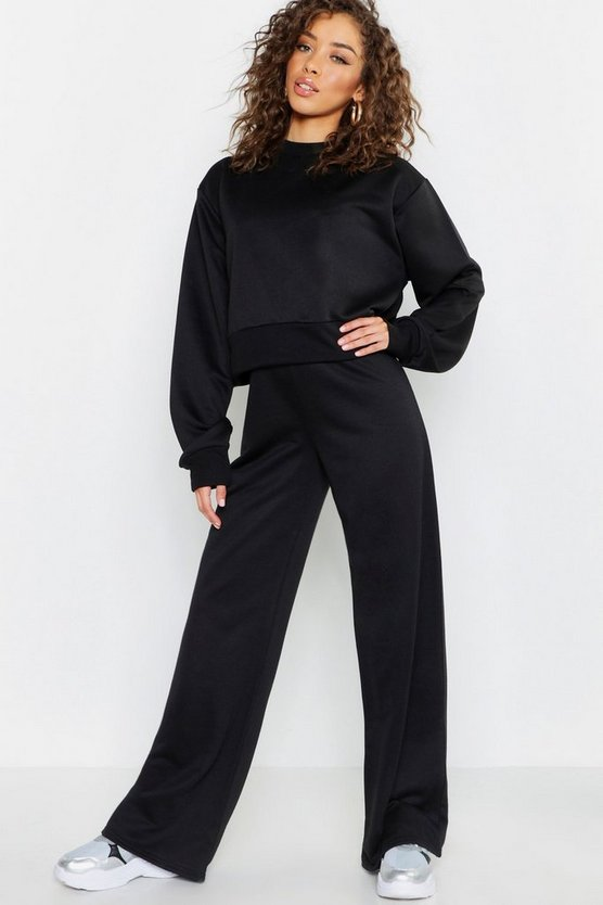 Womens Black Wide Leg Jogger
