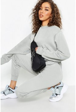 Womens Grey Basic Cuffed Jogger