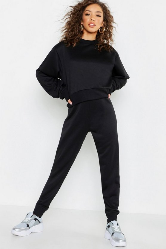 Womens Black Basic Cuffed Jogger