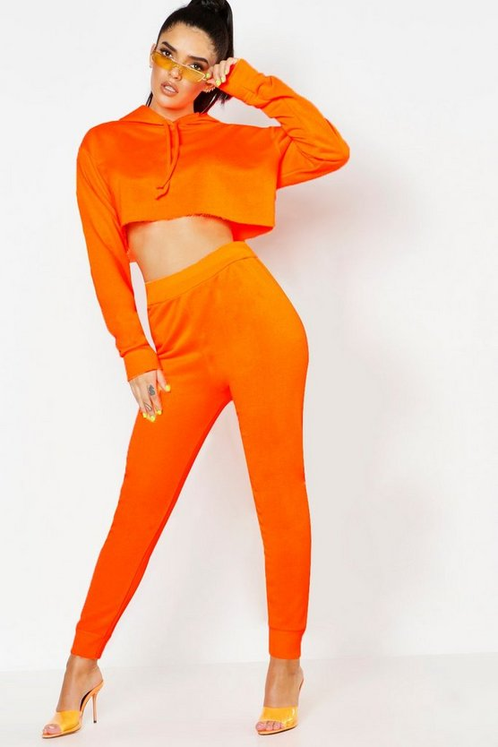 Womens Neon-orange Neon Basic Jogger