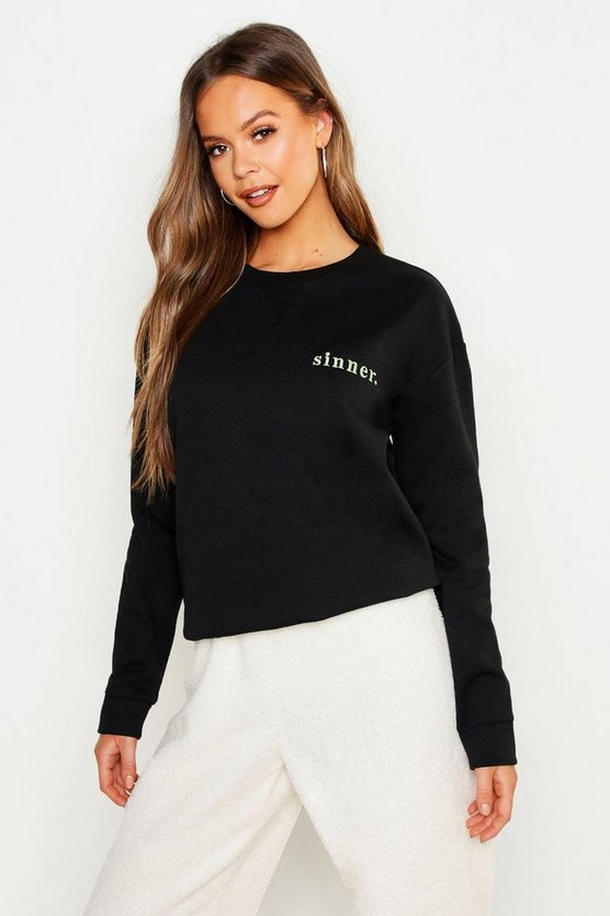 Womens Black Sinner Embroidered Slogan Boyfriend Sweat